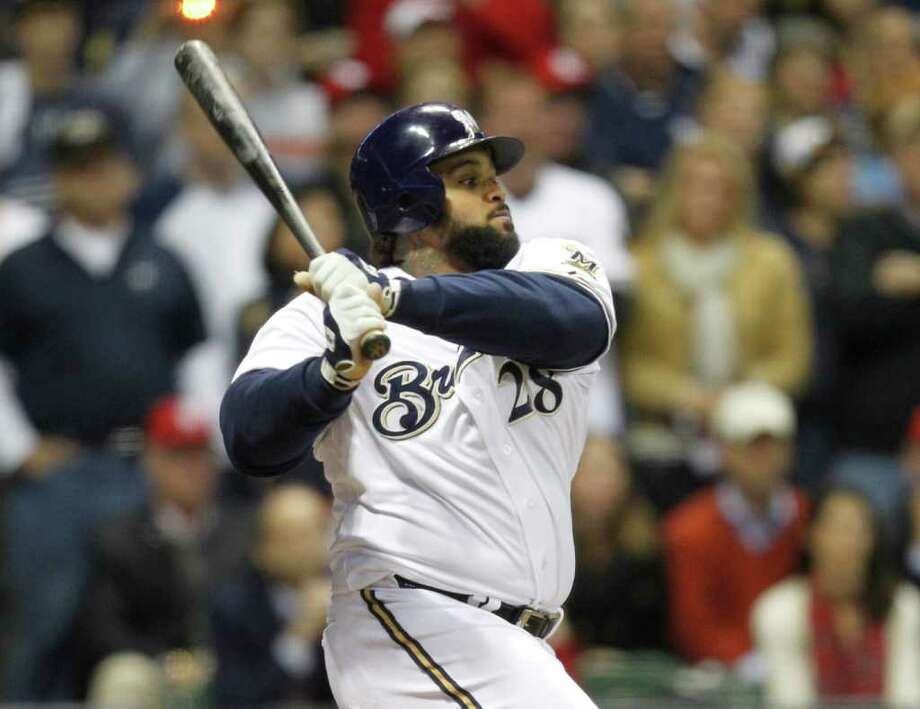 Milwaukee's Prince Fielder grounds out in the eighth inning in what was likely his last at-bat as a Brewer. Fielder is expected to leave Milwaukee as a free agent in the offseason. Photo: Tom Lynn, McClatchy-Tribune News Service / Milwaukee Journal Sentinel