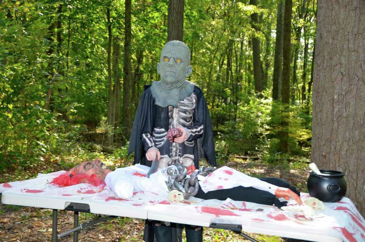 A ghoulish encounter in the woods at the New Canaan Nature Center 2011 Fall Fair.
