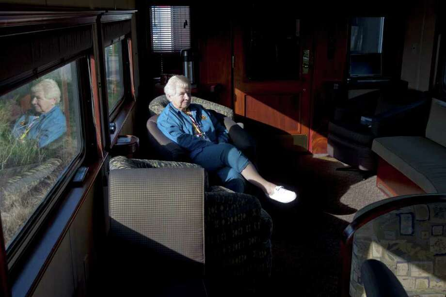 Elaine Stahl, from Sandwich, Illinois watches television in the lounge of the Northern Dreams train car. The Northern Dreams built by Pullman-Standard in 1955, a five bedroom-buffet-Redwood Lounge car North Platte for the Union Pacific Railroad. Rebuilt by UP to an 11-bedroom car in 1956, and named Star Scene. Number 1705 was added in 1969. Sold to Amtrak in 1971, and the number was changed to 2254. It was later changed to 2230 when the car was modified for service on Amtrak's Auto Train. The car was retired in 1997. The current owner purchased the car in 1999, upgraded, refurbished it and renamed it Northern Dreams. In 2003, the car was upgraded and reconfigured as a six-bedroom/lounge. The car is owned by David and Marilyn Hoffman and based in Milwaukee, Wisconsin. Photo: For To Chronicle :Thomas B. Shea
