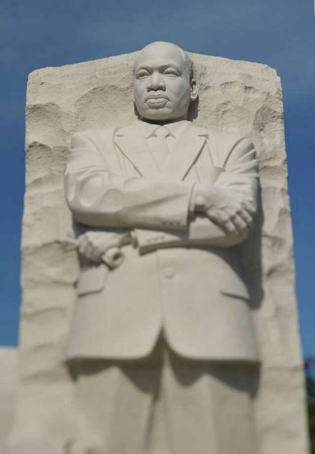"""The """"Stone of Hope"""" sculpture is seen during the dedication of the Martin Luther King Jr. Memorial October 16, 2011 in Washington, DC. AFP PHOTO/Mandel NGAN (Photo credit should read MANDEL NGAN/AFP/Getty Images) Photo: MANDEL NGAN / AFP"""