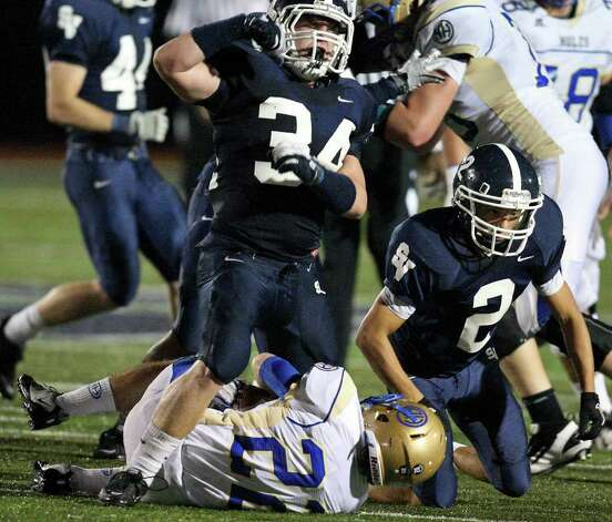 Smithson Valley's George Schwanenberg (34) and Aaron Potter were all over the field during the Rangers' 41-15 victory against Alamo Heights last week. Photo: Edward A. Ornelas/eaornelas@express-news.net / © SAN ANTONIO EXPRESS-NEWS (NFS)