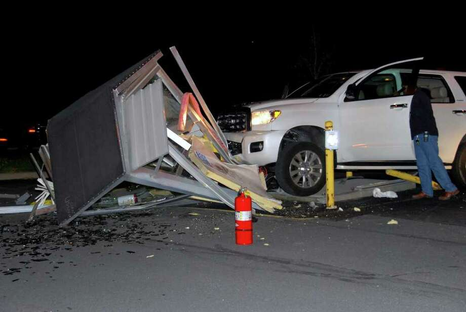 A security guard shack at the Stratton VA Hospital in Albany was demolished when this SUV crashed into it Monday night. (Thomas Heffernan Sr./Special to the Times Union)