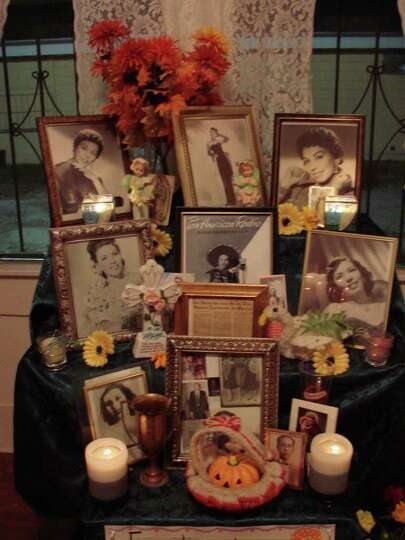 This altar installation, in tribute to Eva Garza, and many others are part of dia de los muertos act