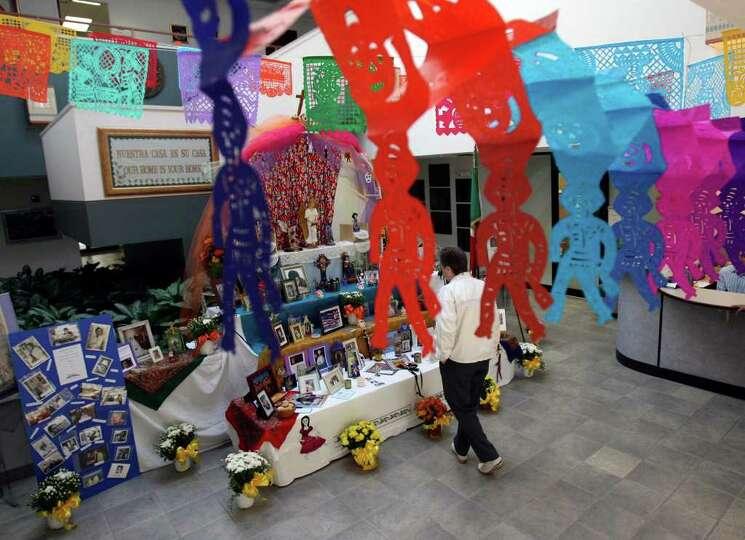 El Dia de los Muertos altar built by the staff of the Mexican-American Cultural Center Wednesday Oct