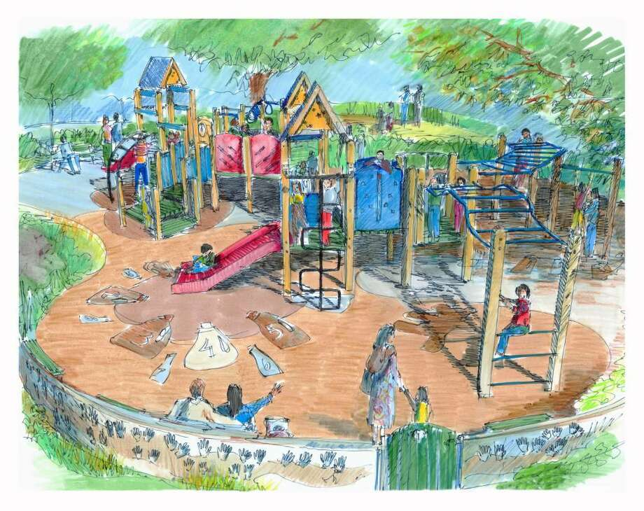 Rendering of new playground to be donated to Trumbull by Sun Products, which is moving to town Photo: Contributed Rendering