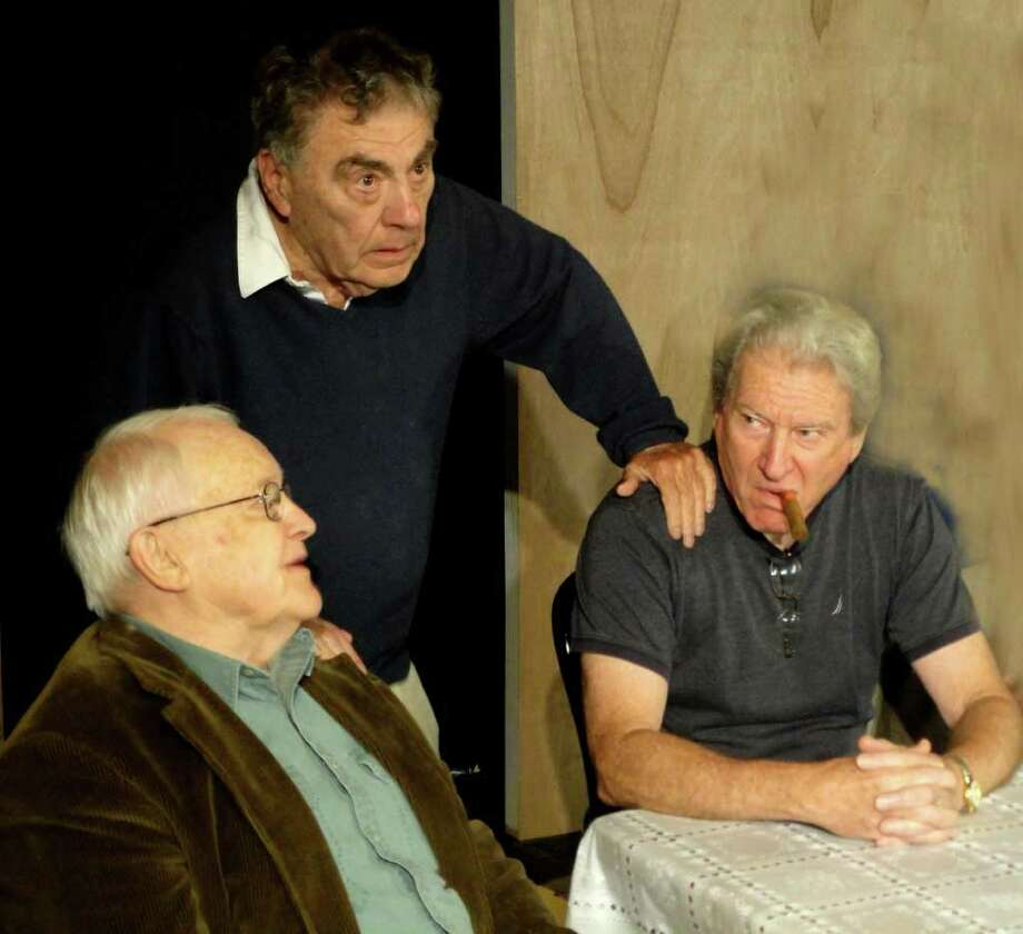 Director Les Colodny works with his leading men, Daniel Fitzgerald and Fred Tisch as they rehearse for Neil Simon's 'The Sunshine Boys.' The play will be staged at Stamford's Curtain Call theater company, beginning Friday, Oct. 21. Photo: Contributed Photo