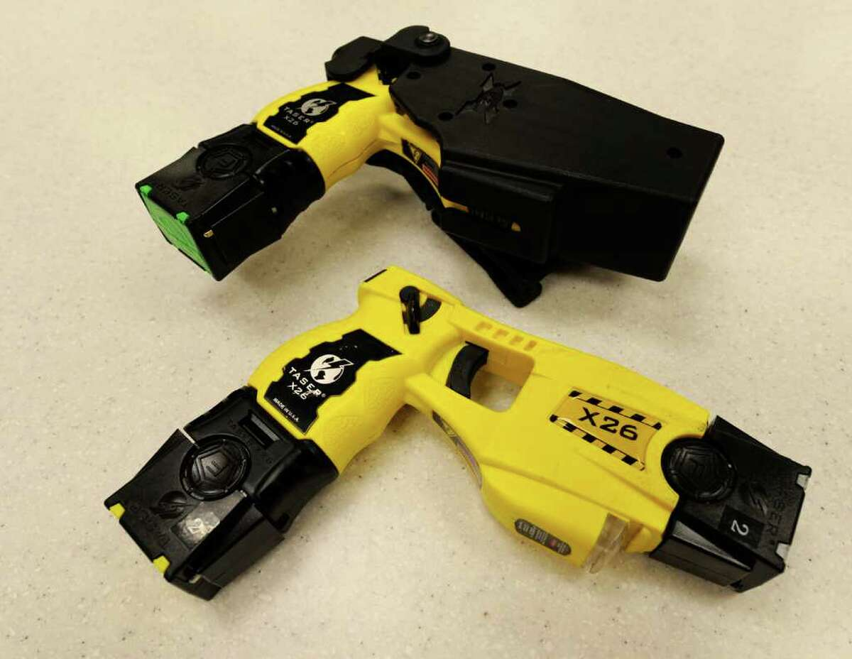 An X26 model taser on display at the Albany County Sheriff's office in Albany N.Y. October 18, 2011. (Skip Dickstein/Times Union)