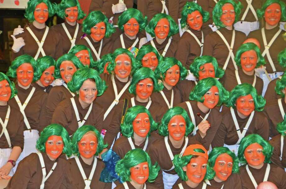 As a part of Spirit Week at New Canaan High School, Wednesday was Clone Day.  Over 100 seniors dressed as Oompa Loompas from Charlie and the Chocolate Factory. Photo: Jeanna Petersen Shepard