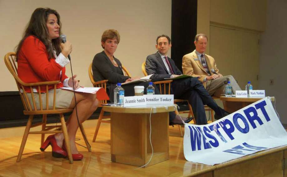 Westport's Board of Education candidates participate in a debate sponsored by the Parent Teacher Association Council on Wednesday, Oct. 19, 2011 at the Westport Public Library. From left, are: Republican Jeannie Smith, Republican Jennifer Tooker, Democrat Michael Gordon and Democrat Mark Mathias. Photo: Paul Schott / Westport News