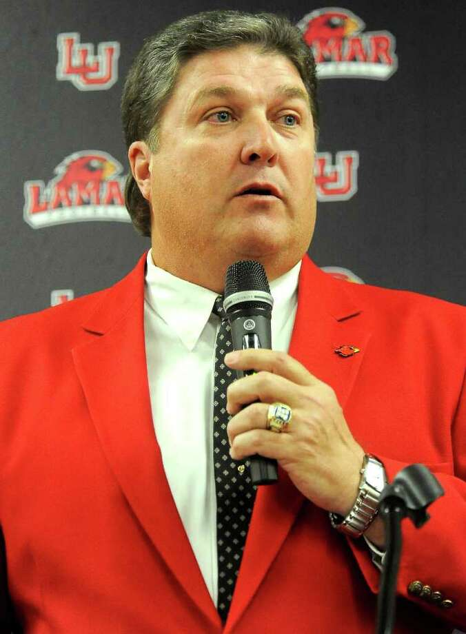Lamar Cardinal football coach, Ray Woodard talks about the renaming of the Lamar Athletic Complex to the Dauphin Athletic Comlex at Lamar University in Beaumont, Wednesday, October 20, 2011. Tammy McKinley/The Enterprise Photo: TAMMY MCKINLEY