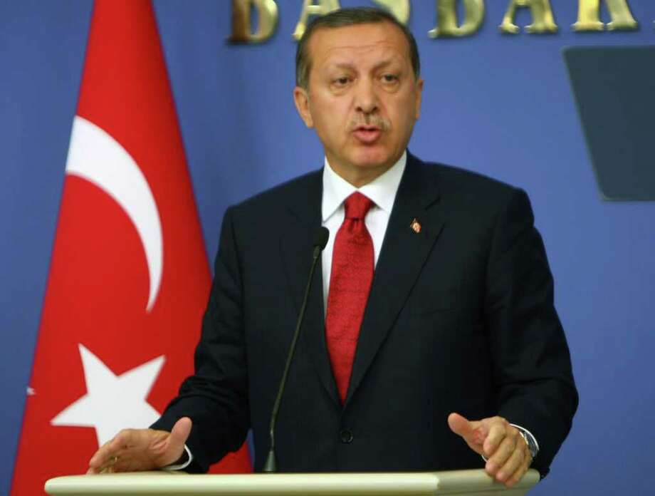 Turkey's Prime Minister Recep Tayyip Erdogan addresses the media in Ankara, Turkey, Wednesday, Oct. 19, 2011. Turkish soldiers, air force bombers and helicopter gunships reportedly launched an incursion into Iraq on Wednesday, hours after Kurdish rebels killed 26 soldiers and wounded 22 others in multiple attacks along the border.(AP Photo) / AP
