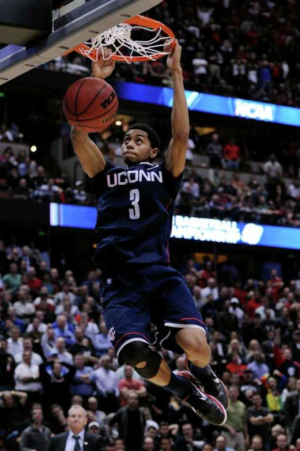 Jeremy Lamb dunks the ball against San Diego State during UConn's NCAA championship run last season. Photo: Harry How, Harry How/Getty Images / 2011 Getty Images