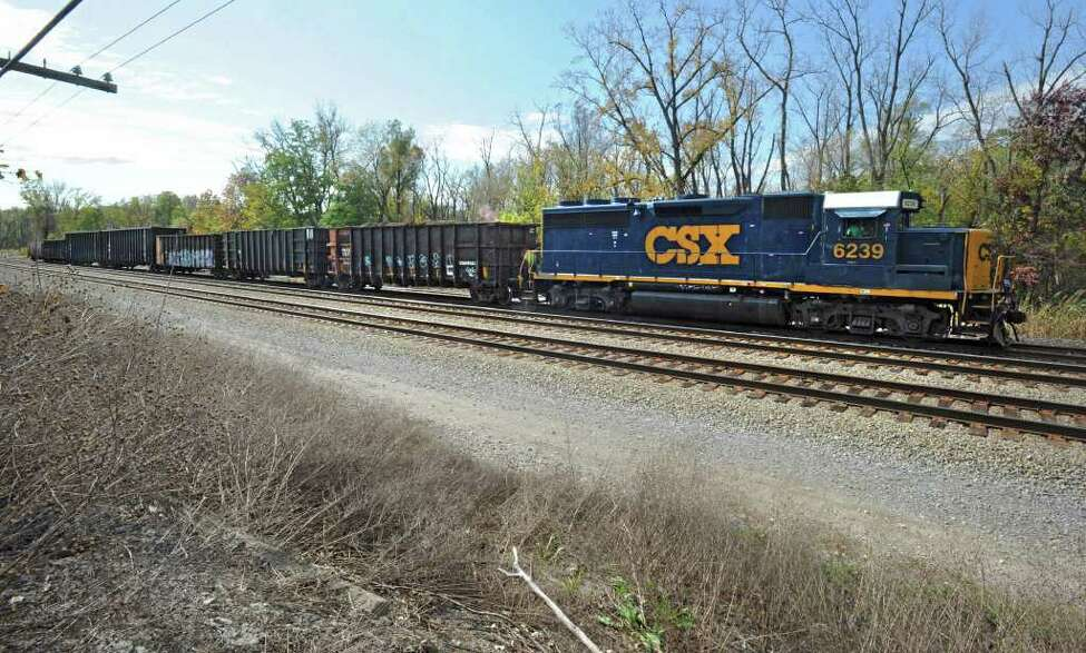 A CRX freight trains rolls down the tracks in Castleton, N.Y. Tuesday, Oct. 18, 2011. (Lori Van Buren / Times Union)