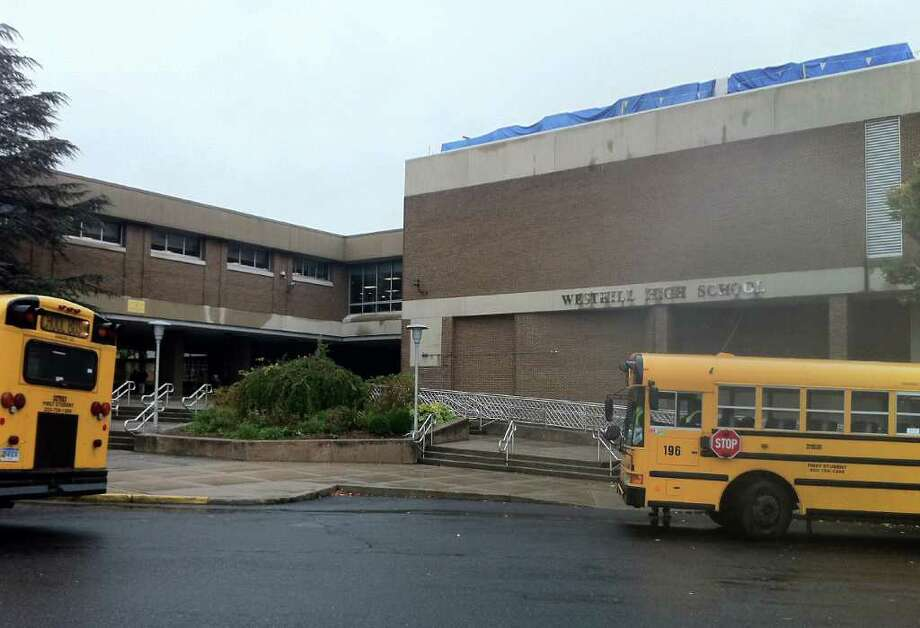 Police responded to Westhill High School at noon Wednesday to contain a food fight in the cafeteria that turned into multiple brawls. No injuries were reported. Photo: Jeff Morganteen