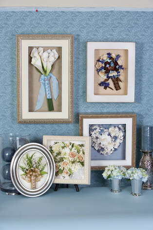 Keepsake Floral offers airtight shadowbox displays, acrylic domed oval frames and tabletop designs to effectively and artfully preserve your bridal bouquet.  (Photo courtesy of Keepsake Floral)