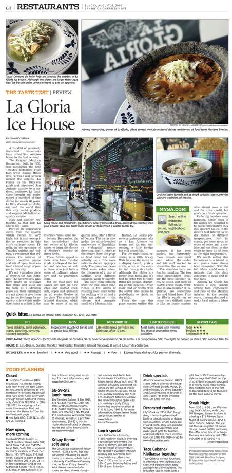 Edmund Tijerina's review of La Gloria Ice House was one of two that won him second place in the Association of Food Journalists' restaurant criticism category.Read more: E-N Taste section named tops in nation