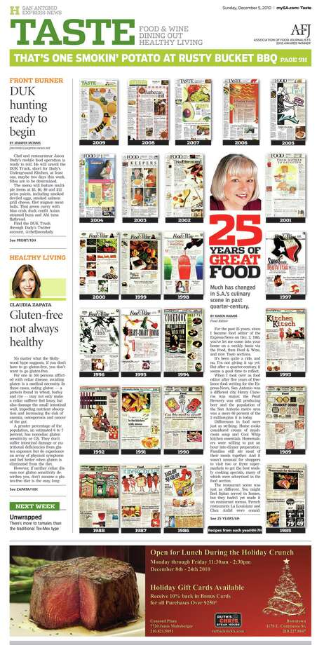 The Dec. 5, 2010 Taste section was one of three winning entries in the Association of Food Journalists competition; it featured favorite recipes from the past 25 years of Taste/Food.Read more: E-N Taste section named tops in nation