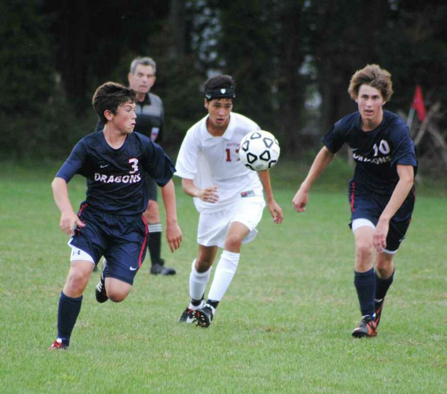 Greens Farms Academy's Griffin Garner, 3, of Westport, and junior Anders Forfang, 10, were strong contributors in GFA's 2-0 victory over St. Luke's last week. Photo: Contributed Photo