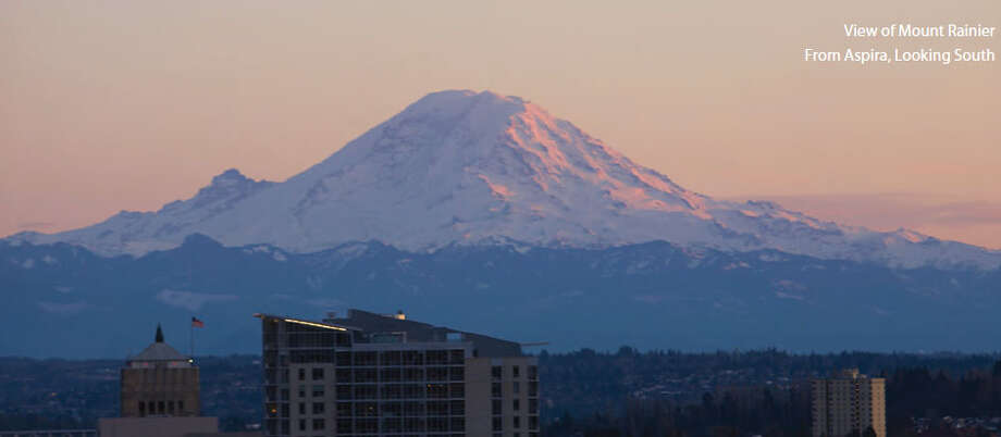 View of Mount Rainier from Aspira, a 37-story, 324-unit apartment building at 1823 Terry Ave. The developers just put the tower up for sale. Photo: Jones Lang LaSalle
