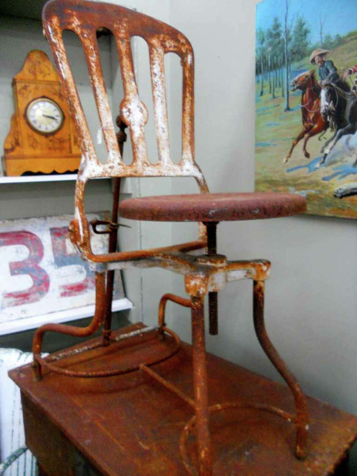 This old dentist chair, $275, is available at Blanco Centre. Photo by Jennifer Rodriguez/Special to the Express-News.
