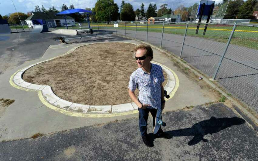 Charlie Samuels looks over the skate pool which was filled with sand at the East Side Rec Park in Saratoga Springs, N.Y. October 20, 2011. (Skip Dickstein / Times Union)