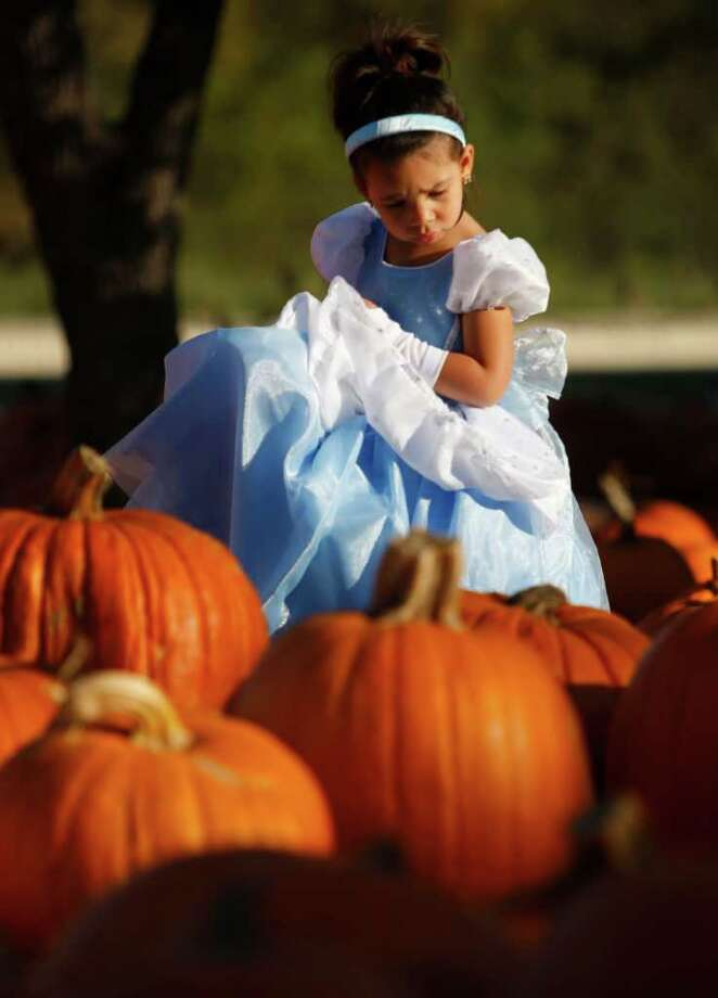 Three-year-old Kylie Cox makes her way Wednesday Oct. 19, 2011 through the pumpkins at the Northwest Hills United Methodist Church pumpkin patch. The pumpkin patch is open from 9 a.m. to 9 p.m. until Halloween. Photo: WILLIAM LUTHER / 2011 SAN ANTONIO EXPRESS-NEWS