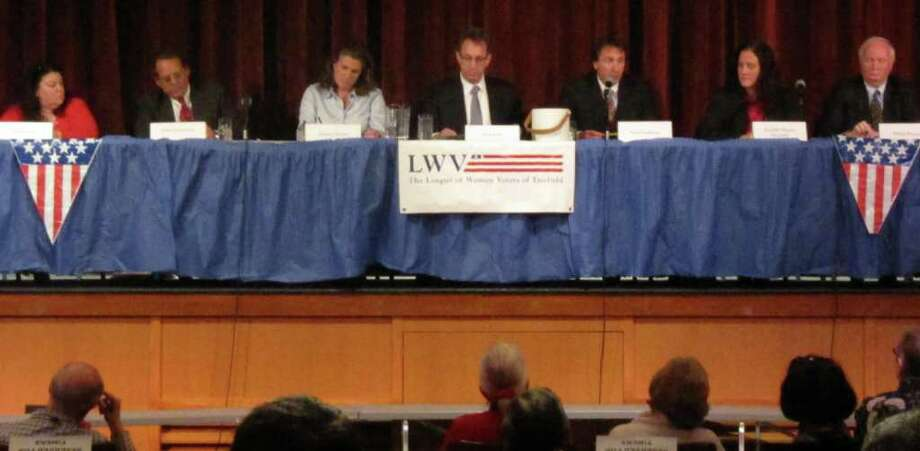 Fairfield Board of Education candidates at a Thursday forum sponsored by the League of Women Voters, from left: Stacey Zahn, John Convertito, Jessica Gerber, Neil Fink, Paul Fattibene, Jennifer Maxon Kennelly and Philip Dwyer. Photo: Kirk Lang / Fairfield Citizen