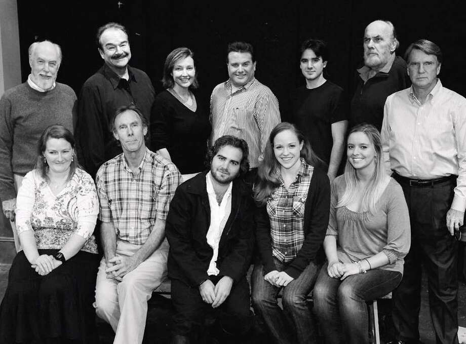 The Company of the Town Players of New Canaanís production of Peter Shafferís Amadeus is, seated, Kathleen Klatte, Eric Schultz, Bobby Pavia, Ammie Renée Brown and Megan Harris. Standing are John Pyron, Gary Battaglia, Lynne Bolton, Tom Petrone, Michael Hodges, Manny Lieberman and Robert Doran. Photo: Contributed Photo