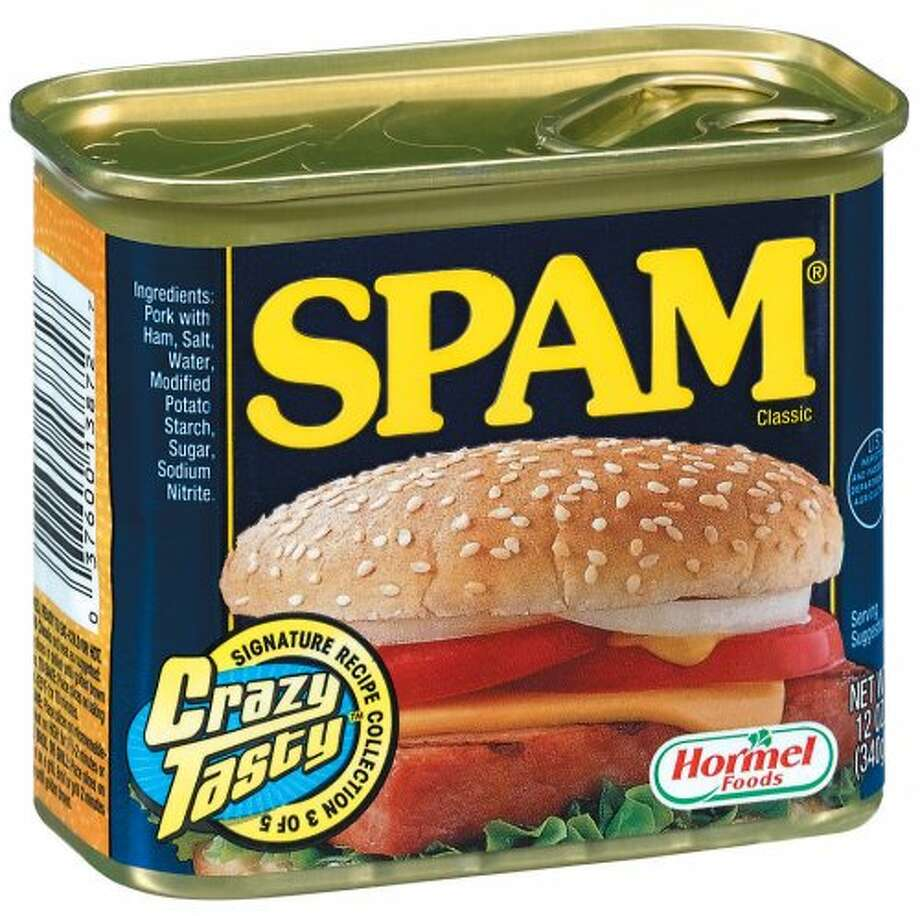 SPAM If you've ever wondered what, exactly, SPAM is, the word officially stands for SPiced hAM. Other people (people who aren't employed by Hormel, the company that created SPAM) insist it stands for Shoulder Pork and hAM, although considering that ham comes from a pig's thigh, a better name might be Shoulder/Thigh Of Pork. At least that way, the name would not only more accurately describe the product, it would also give the best possible advice to anyone thinking about opening a can: STOP. The gelatinous, rectangular meat wads were introduced in 1937 as a way to package what was left of a pig after it had been processed into other, more identifiable food. It was cheap and abundant, which is probably why Hormel served up over 15 million cans of the stuff to Allied troops every week during WWII. After the war, Eisenhower, Thatcher and Khrushchev all credited it with helping the Allies win. Incidentally, if you ever feel like writing about SPAM, you should know that Hormel insists the word always be written in all caps, presumably because it enjoys people YELLING ABOUT PROCESSED PORK ALL OVER THE INTERNET!