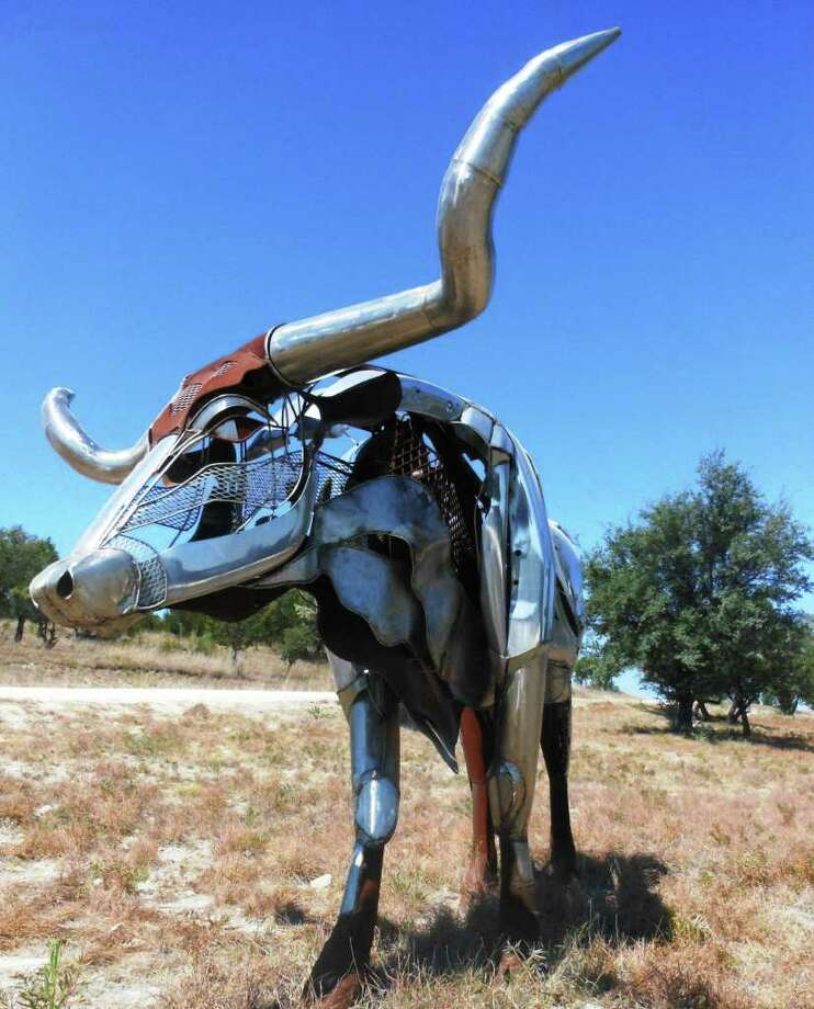 """Miles, Texas artist Bettye Hamblen Turner's """"Paladin"""" is one of some 100 outdoor sculptures on exhibit at the 145-acre Benini Sculpture Ranch near Johnson City. Photo: Photo By Steve Bennett"""