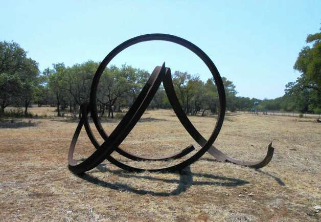Johann Eyefells spiraling steel sculpture is on view at the Benini Sculpture Ranch. Photo: Photo By Steve Bennett