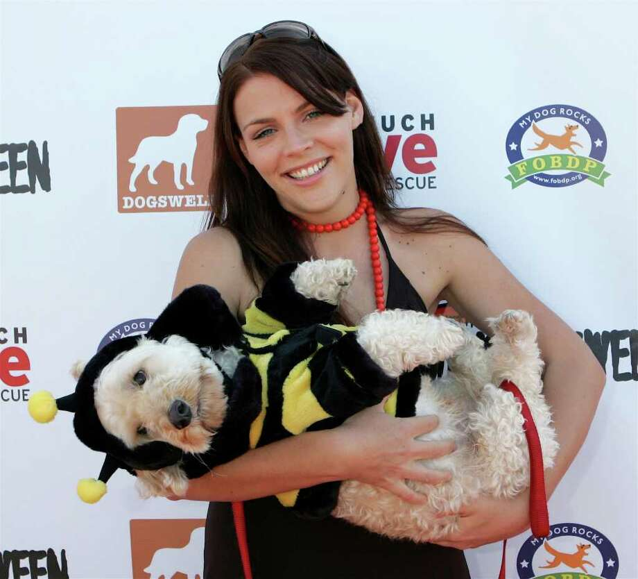 LOS ANGELES - OCTOBER 30:  Busy Phillips, a doggy costume contest judge, and her dog, Henry, arrive at the Dogswell Dog Treats presents the Fourth Annual Much Love Animal Rescue Bow Wow Ween on October 30, 2005 in Brentwood, CA. Much Love is a non-profit, no kill charity that finds homes for dogs and cats about to be destroyed at Los Angeles area animal shelters. Photo: David Livingston, Getty Images / 2005 Getty Images