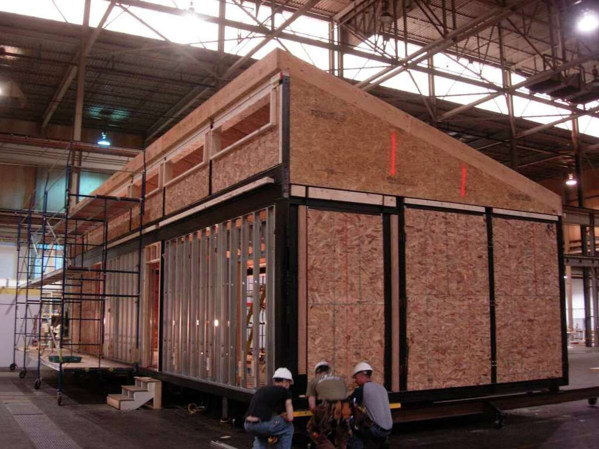 Blu Homes builds the Mintz Glidehouse in its Massachusetts factor.