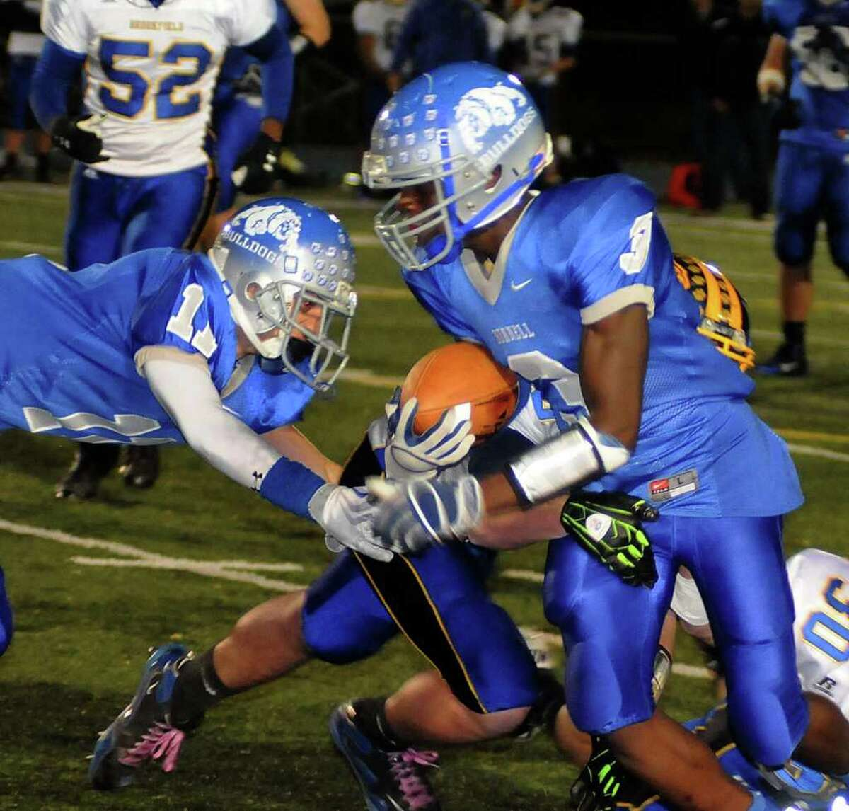 Bunnell's Terrence N'Dabian, right, has possession of the ball while Bunnell's Jared Vasquez defends during a game against Brookfield High School at Bunnell on Friday evening Oct. 21, 2011.