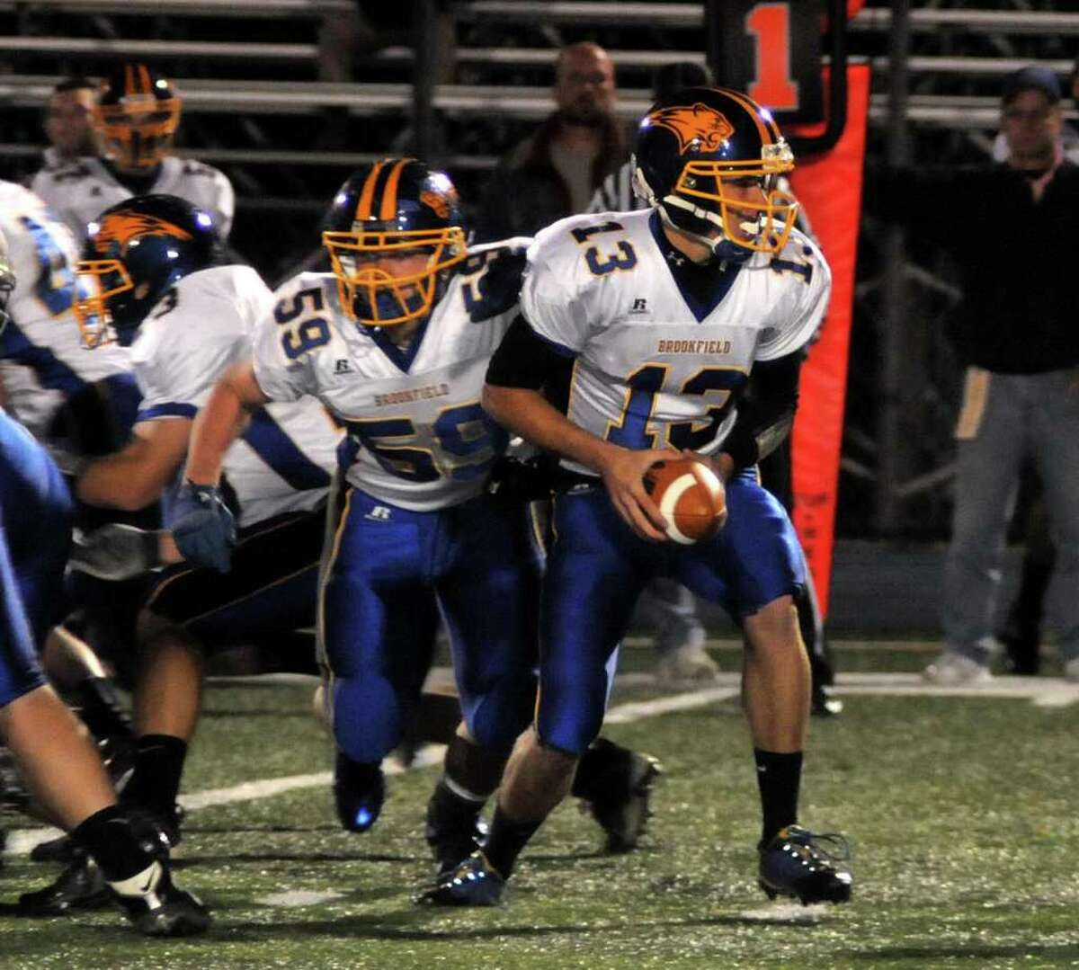 Brookfield's Boeing Brown, right, has possession of the ball while Brookfield Tyler Heckmann defends during a gamel at Bunnell High School on Friday evening Oct. 21, 2011.