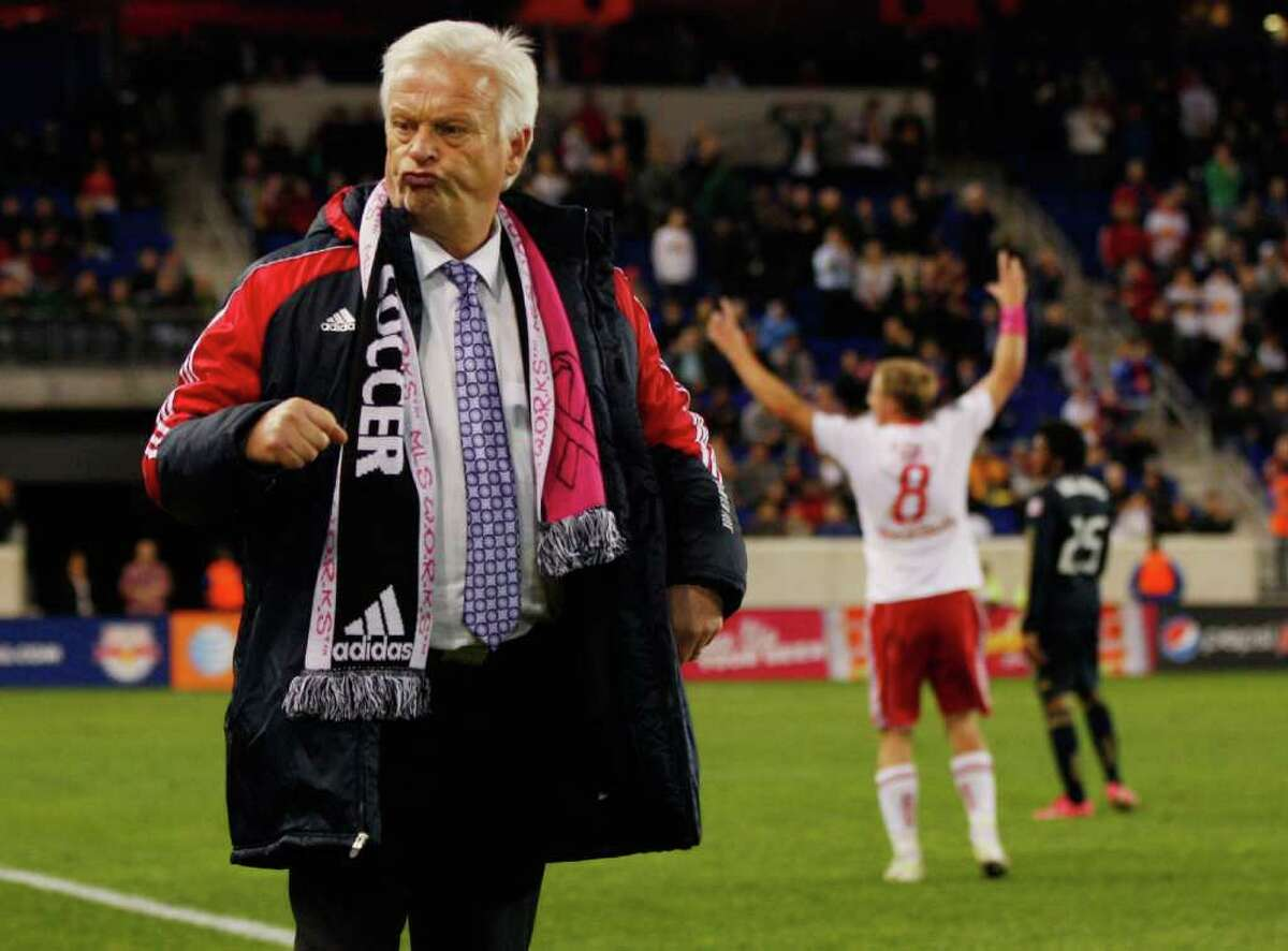 REASON TO CELEBRATE: The Red Bulls' 1-0 victory over the Union on Thursday not only fired up New York coach Hans Backe but also gives the Dynamo some incentive in their match Sunday against the Galaxy at Robertson Stadium.