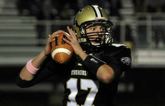 Highlights from boys football action between Trumbull and Staples in Trumbull, Conn. on Friday October 21, 2011. Trumbull QB Nick Roberts. Photo: Christian Abraham / Connecticut Post