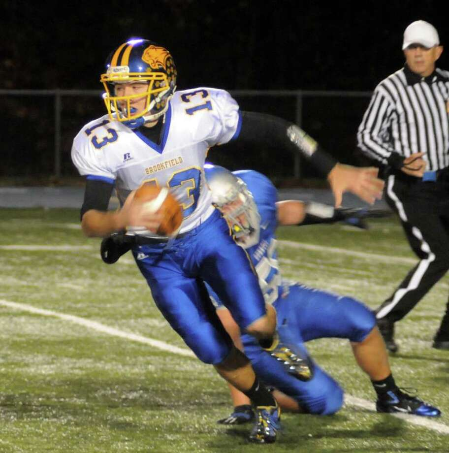 Highlights of boys football action between Bunnell and Brookfield in Stratford on Friday Oct. 21, 2011. Photo: Lisa Weir