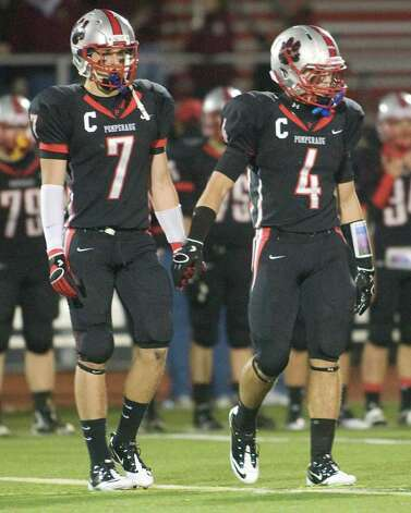 Pomperaugh football captains are Garrett DeLotto (7) and Tyler Valenti. Photo: Barry Horn