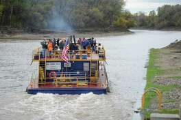 A tour of the canals sponsored by the Canal Corp.  leaves Lock 8 on the Erie Canal in Rotterdam, N.Y., October 21, 2011.      (Skip Dickstein/Times Union)