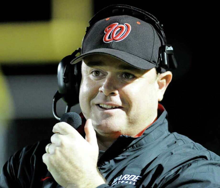 Head coach Duncan Dellavolpe of Fairfield Warde High School during football game between Fairfield Warde High School and Trinity Catholic High School, at Fairfield Warde, Friday night, Oct. 21, 2011. Photo: Bob Luckey / Greenwich Time