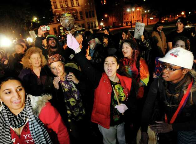 Participants play music and chant during Occupy Albany on Friday, Oct. 21, 2011, at Academy Park in Albany, N.Y. (Cindy Schultz / Times Union) Photo: Cindy Schultz / 00015065A