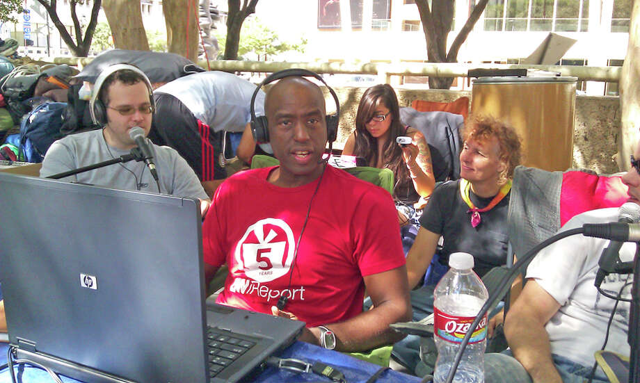 Egberto Willies is broadcasting his weekly radio program, Politics Done Right, on Saturday from the Occupy  Houston camp in Tranquility Park. Photo: Houston Chronicle