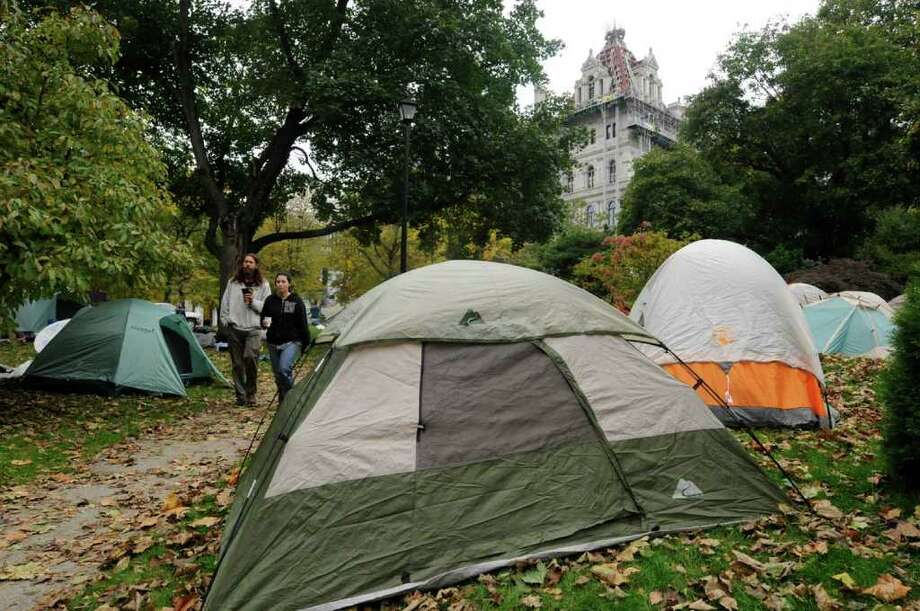The Occupy Albany encampment at Academy Park  across from the Capitol in Albany, NY Saturday, Oct. 22, 2011.( Michael P. Farrell/Times Union) Photo: Michael P. Farrell