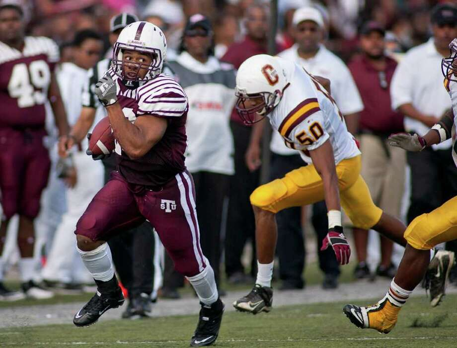 Oct. 23: Texas Southern 42, Central State (Ohio) 11. Tiger tailback Marcus Wright (23) rushes for a first down in the second half. He finished with a game-high 131 rushing yards. Photo: Nathan Lindstrom, Freelance / ©2011 Nathan Lindstrom