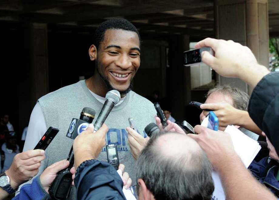 UConn's Andre Drummond meets the media before the team's Husky Run in Storrs on Oct. 12, 2011. Photo: Fred Beckham/Associated Press / FR153656 AP