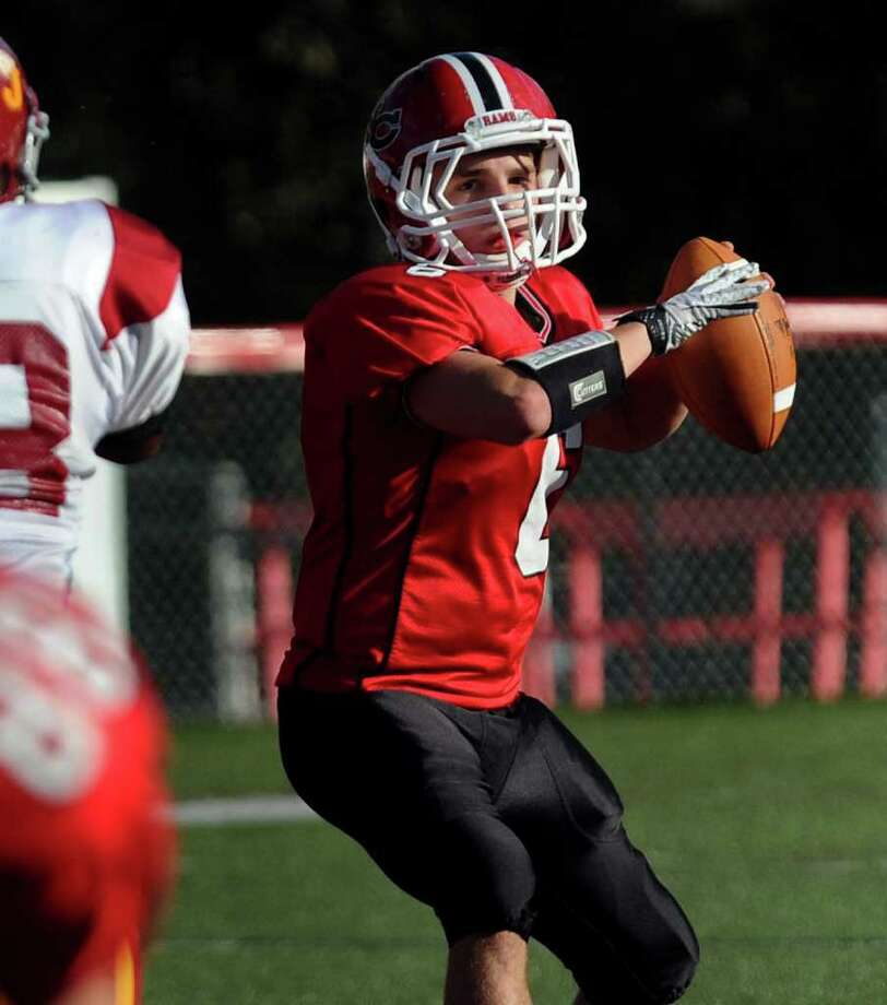 Highlights from boys football action between New Canaan and St. Joseph in New Canaan, Conn. on Saturday October 22, 2011. New Canaan's #6 Ted Bossidy. Photo: Christian Abraham / Connecticut Post