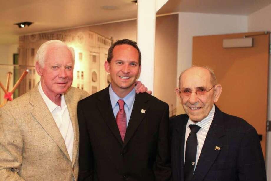 Jeff Idelson, center, with Yogi Berra, right, and Whitey Ford (Courtesy Yogi Berra Museum)