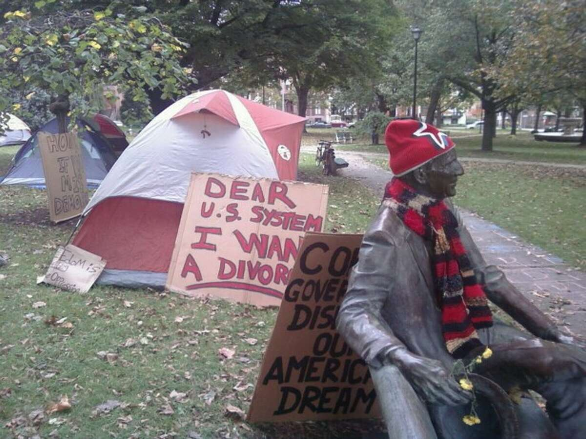Tents and signs standing in Academy Park Sunday, Oct. 24 for the Occupy Albany protest.