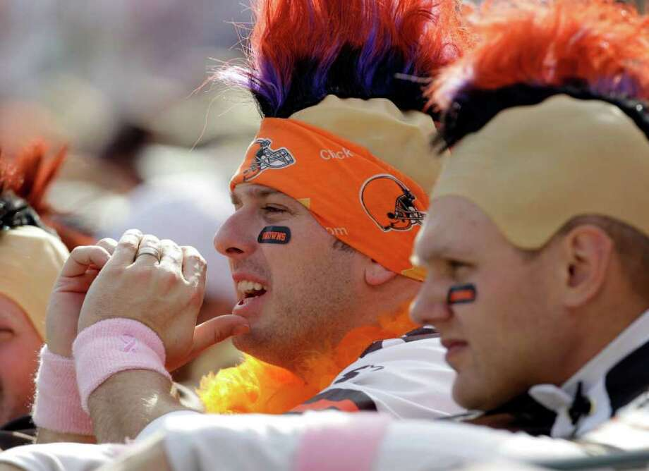 Cleveland Browns fans watch the first quarter of an NFL football game between the Browns and the Seattle Seahawks Sunday, Oct. 23, 2011, in Cleveland. Photo: AP
